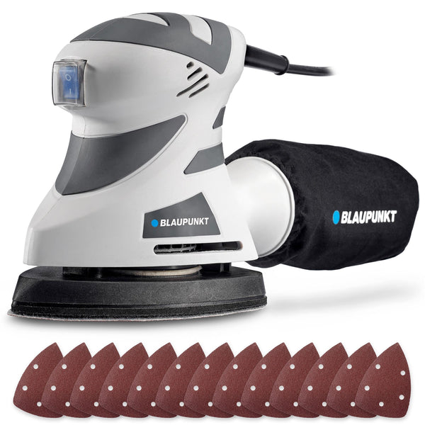 Blaupunkt Detail Sander - 180W Electric – 140x100mm –  12x Assorted Pads