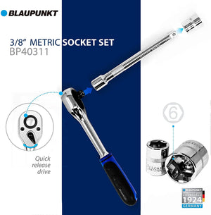 "Blaupunkt 3/8"" 13pc. Metric Socket Set - Extension Bar and Ratchet"