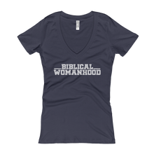 Women's Biblical Womanhood V-Neck Navy Blue