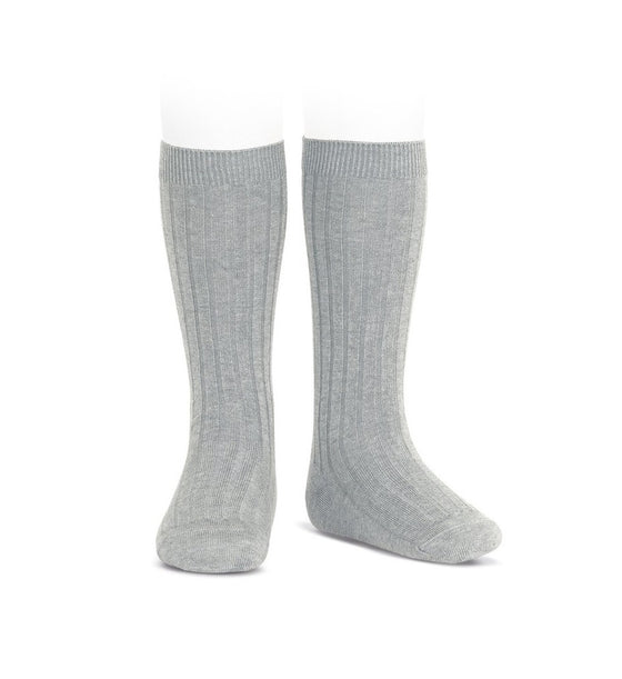 Light grey ribbed knit knee high socks by Condor from Spain