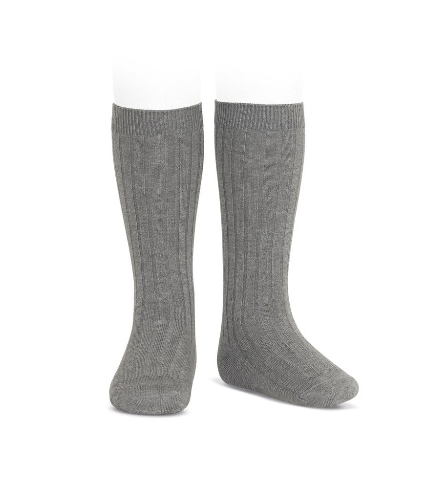 Dark grey ribbed knit knee high socks by Condor from Spain