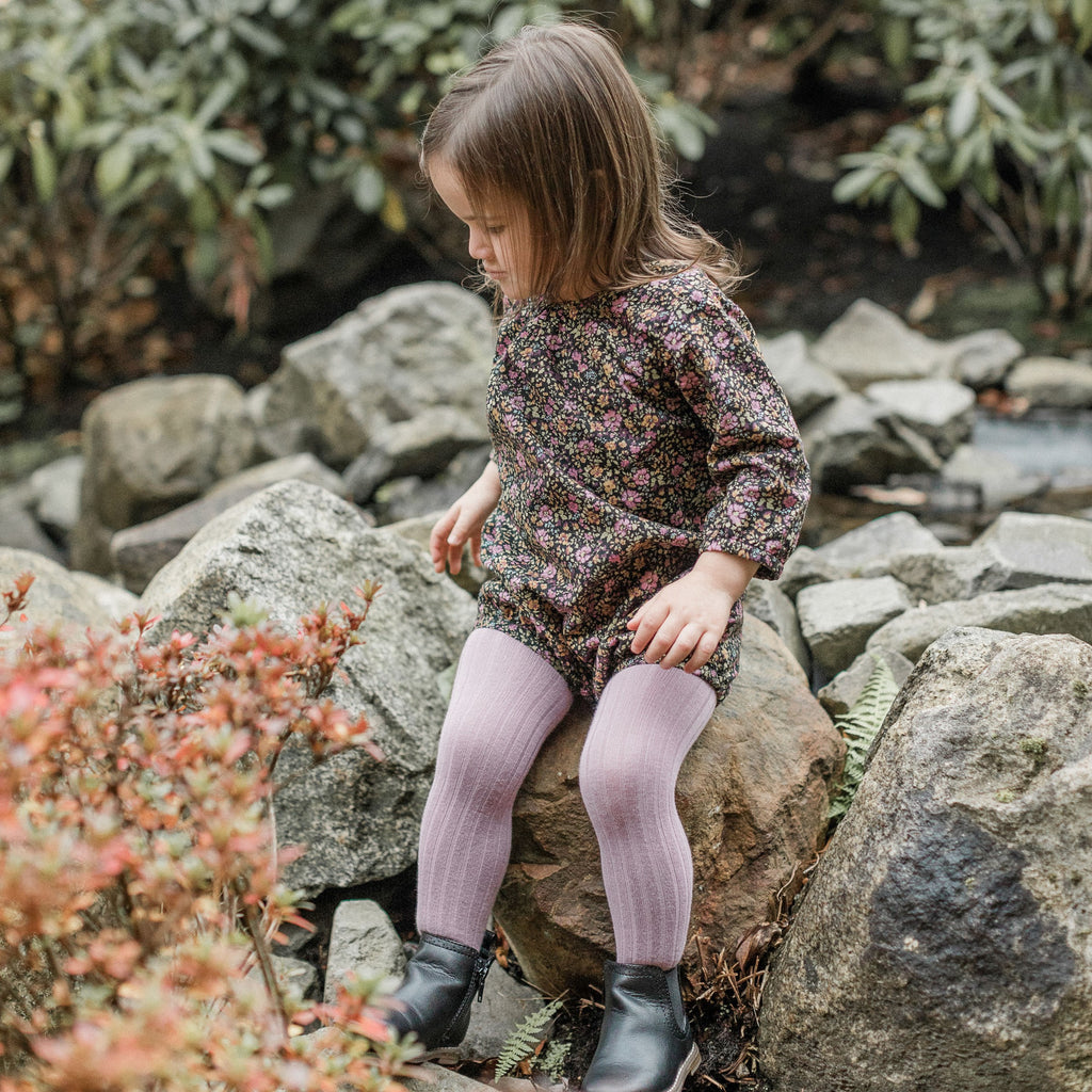 Ribbed Knit Tights - Amethyst