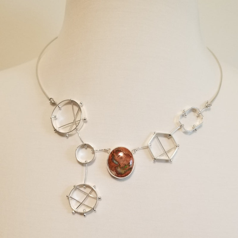 Geometric bib necklace with mexican bolder opal