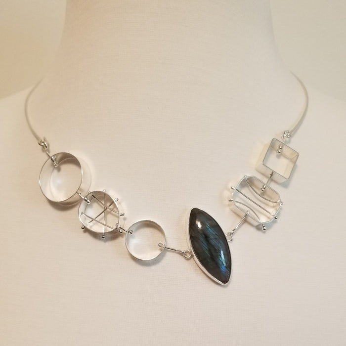 Geometric Bib Necklace with Marquis Labradorite