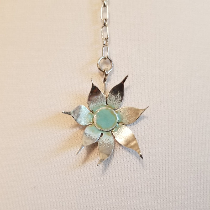 Drop flower necklace with blue/green enamel centre