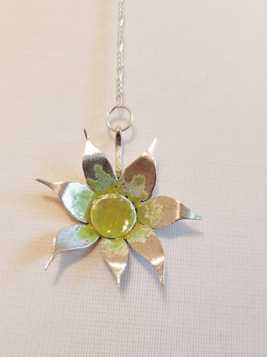 Drop flower pendant with lime green & yellow centre