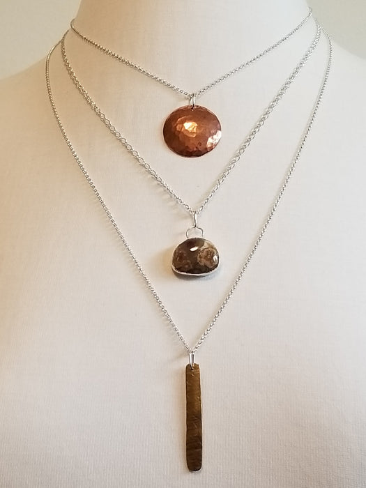 Triple tier silver necklace with copper, brass and agate