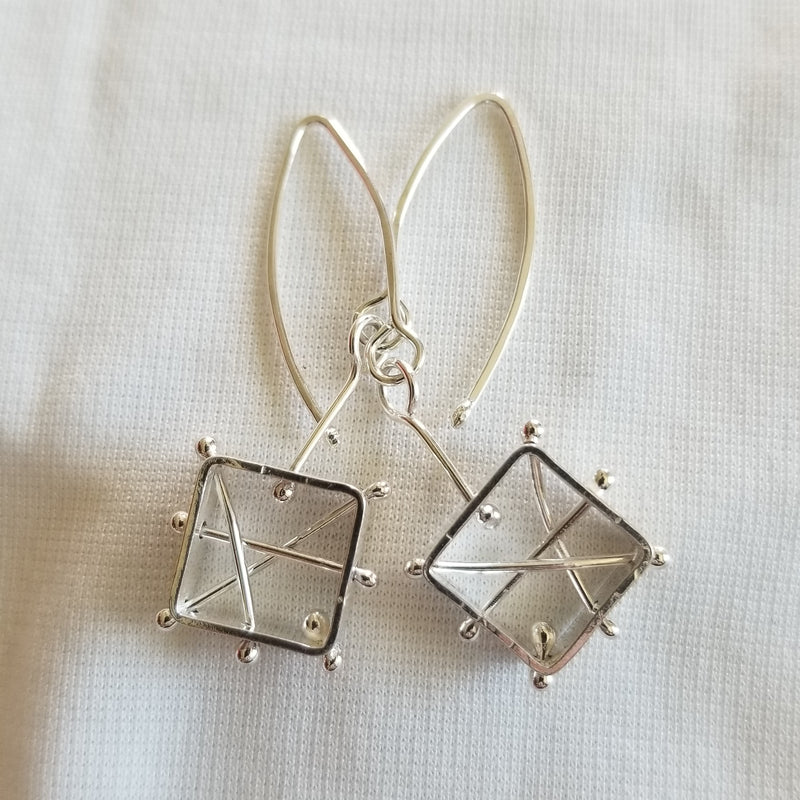 Geometric drop earrings with various bar/ball designs
