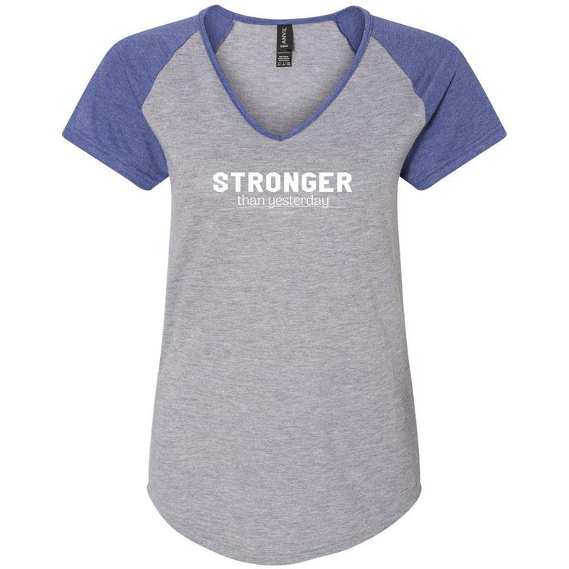 Stronger Than Yesterday Ladies Colorblock V-Neck Tee