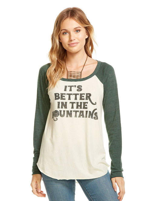 """Better in the Mountains"" L/S Baseball Tee"