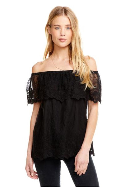 Chaser Brand Lace Flouncy Off The Shoulder Top