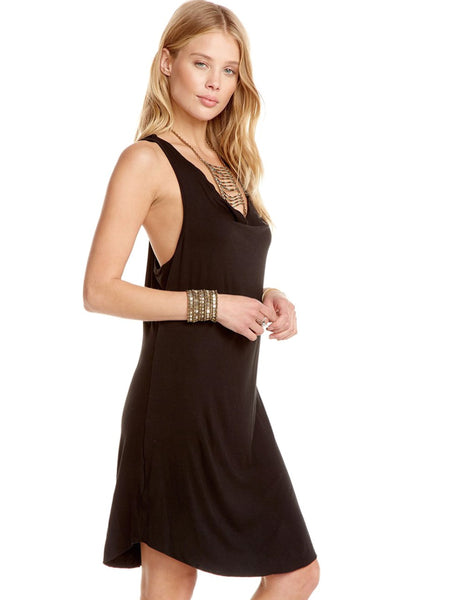 Chaser Brand Cowl Neck Racer Back Hi-Lo Jersey Shirttail Dress