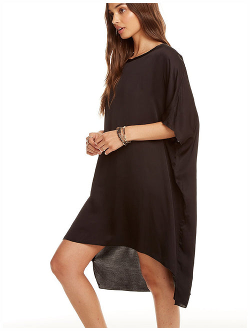 Chaser Brand Silky Oversized Shirt Dress