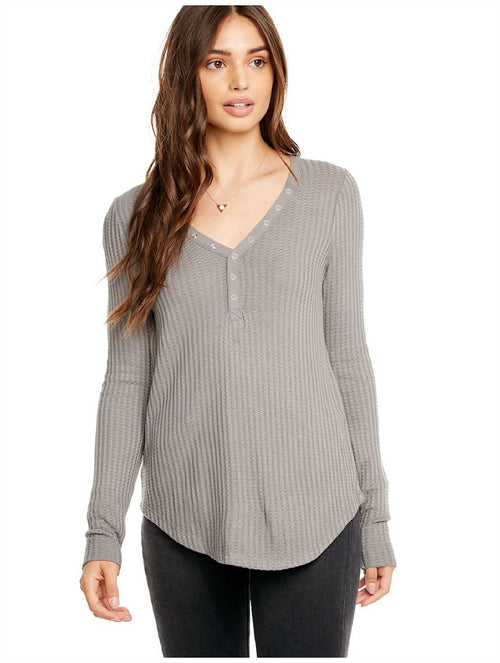 Chaser Thermal Long Sleeve Snap Front Long Sleeve Top