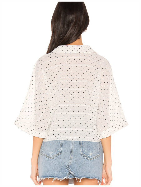 Cupcakes & Cashmere - Gardenia Tie Front Blouse