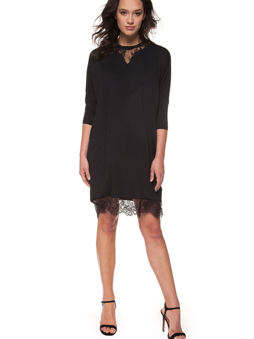 DEX - Elbow Sleeve Dress w Lace Hem
