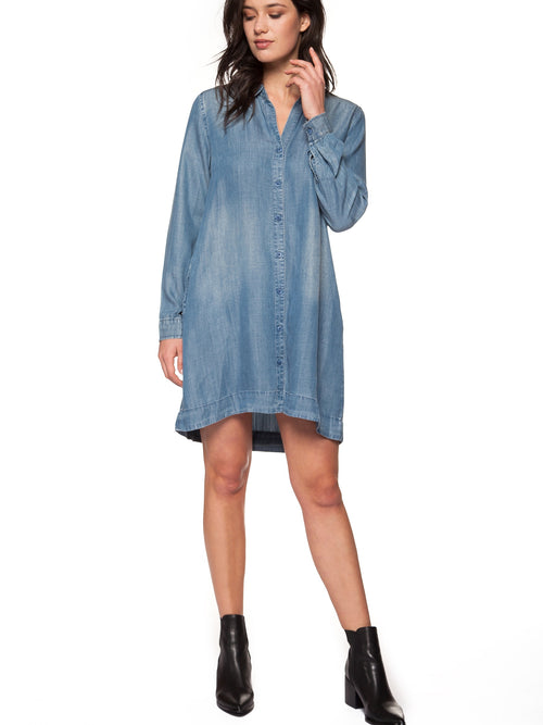 DEX - Long Sleeve Blouse Dress w Lace Up Back