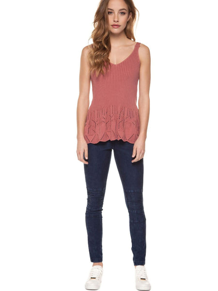 DEX - Moto Legging Slanted Cut Knee - Denim Wash