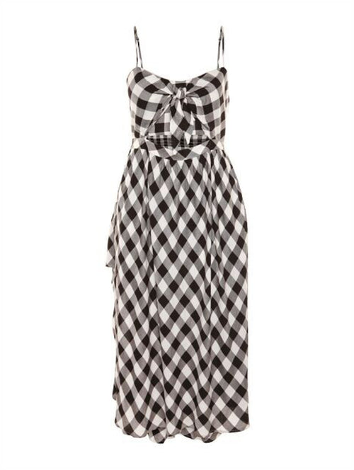 Dex Tie Front Midi Sundress in Gingham