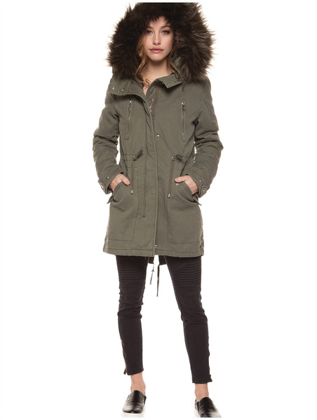 DEX Parka Coat with Faux Fur - Winter Khaki