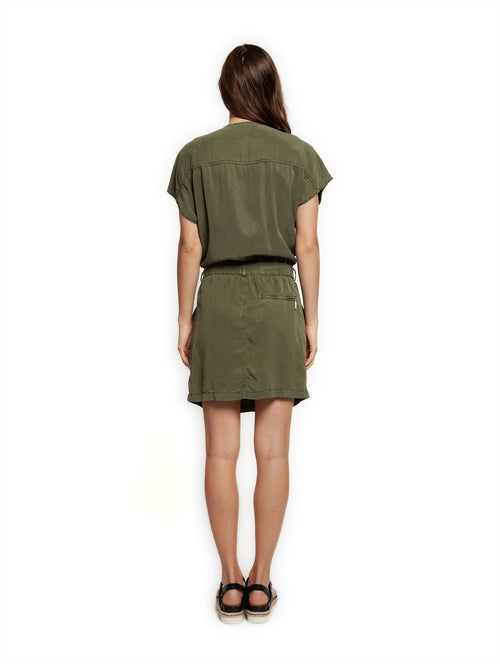DEX Short Sleeve Dress w Patch Pockets & Tie