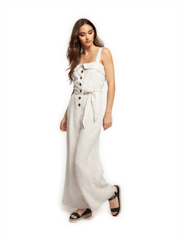 c6ddebdb0747 DEX Wide Strap Button Front Jumpsuit