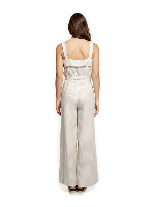 DEX Wide Strap Button Front Jumpsuit