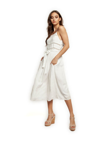 b75304386552 Dex White Midi Dress with Lace Insert