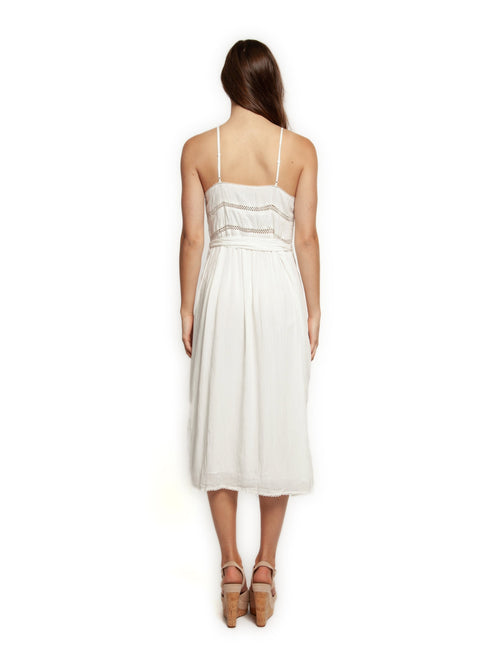 Dex White Midi Dress with Lace Insert