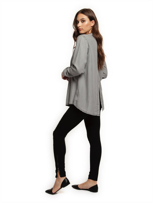 Dex Long Sleeve Top with Back Slit
