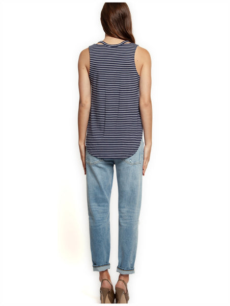Dex Tank Top with Cut Out V-Neck - White/Navy Stripe