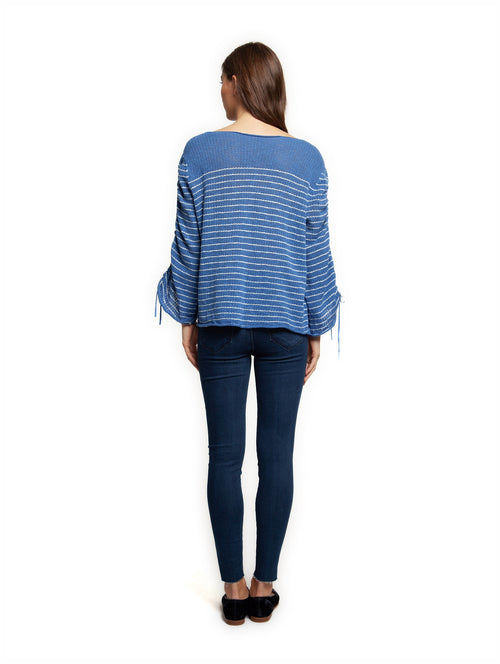 Dex Long Sleeve Scoop Neck Sweater - blue/white striped