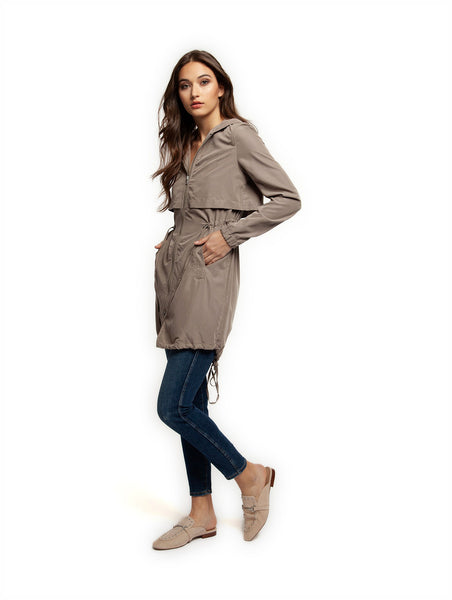 DEX Long Sleeve Hooded Trench Coat