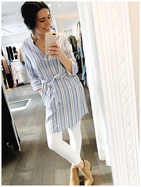 Dex Long Sleeve Belted Tunic - White/Blue Stripe