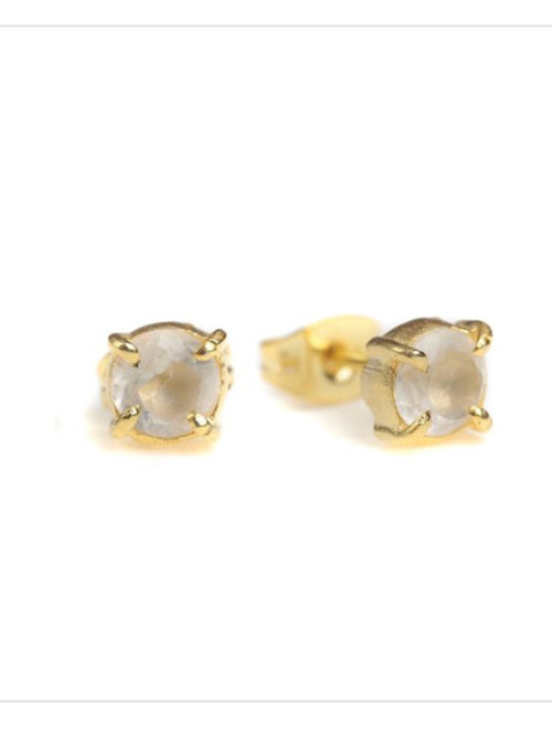 Hue Moonstone Claw Studs - Gold