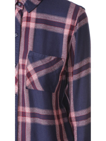 Rails Hunter Long Sleeve Plaid Buttondown in Admiral/Cranberry Melange
