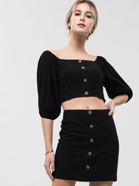 JOA Black Button Down Crop Top