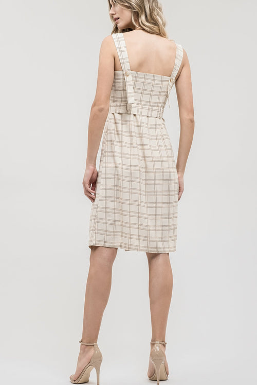 J.O.A Plaid Button Detail Sleeveless Dress