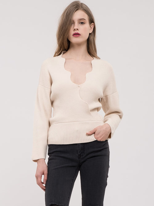 JOA Scalloped Edge Wrap Sweater
