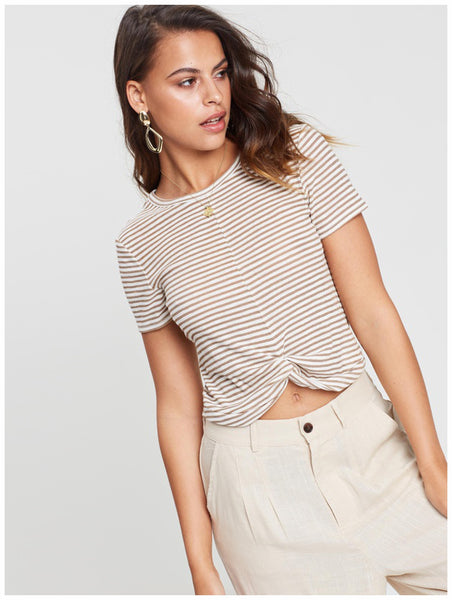 MinkPink Striped Twist Front Tee Nude