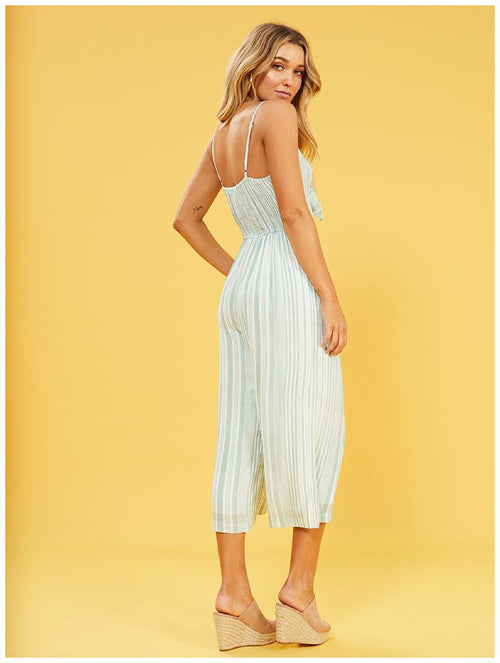 MinkPink Low Tide Tie Front Jumpsuit