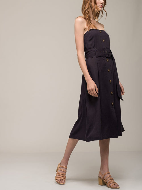 Moon River Belted Strapless Dress