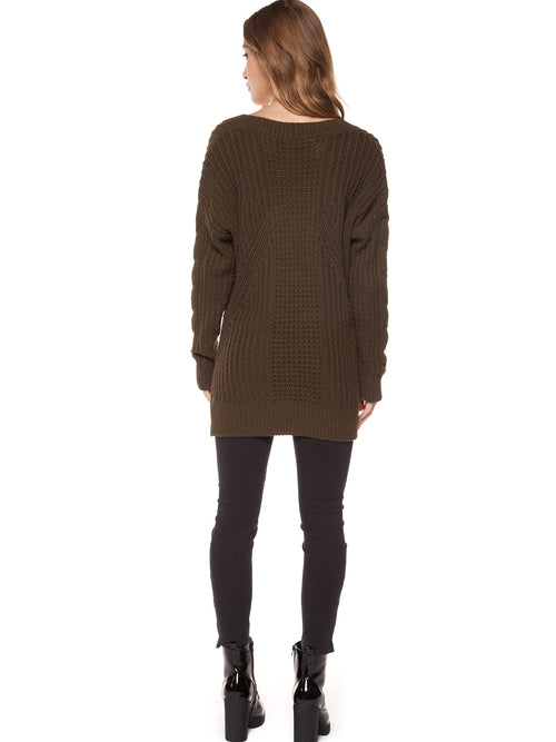 Dex Long Sleeve V-Neck Cable Knit Sweater