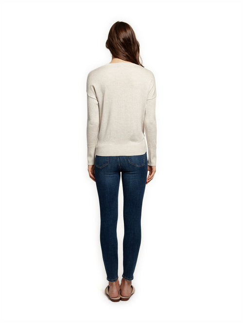 DEX Long Sleeve Scoop Neck Sweater w Front Tie