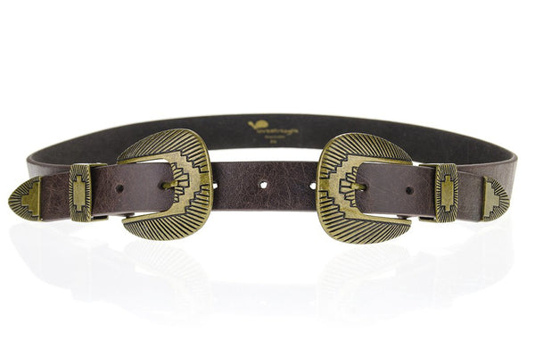 Lovestrength - Winslow Double Buckle Belt in Brown/Brass