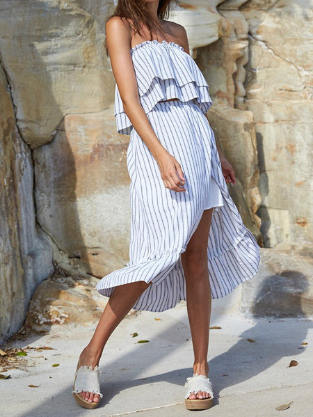 Chaser Brand Lace Up Back Ruffle Maxi Dress