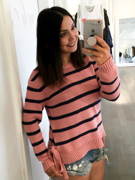 Soaked In Luxury Aine Striped Jumper Sweater