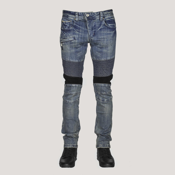DKShin (BEVERLY HILLS) Mens Japanese Selvedge Moto Jeans W/ Spandex for amazing comfort. - DAE K. SHIN & CO.