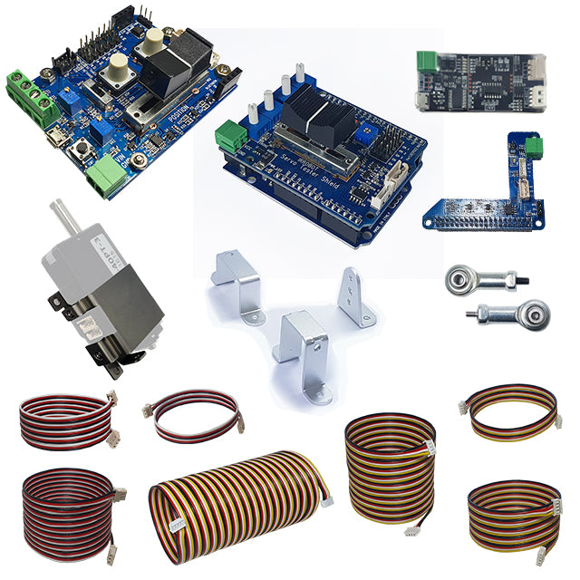 Accessories for mightyZAP (PC USB Interface board, Metal Backet, Servo Test Shield, Raspberry Pi HAT, Extension Wire, Basic Connector Wire)