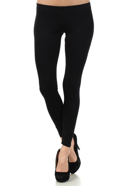 Plus Size Basic Cotton Long Legging Black